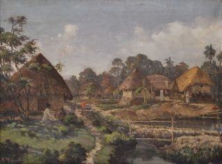 Village Landscape]. B. Majumdar, Indian