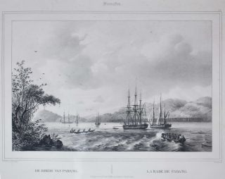 1. Sumatra. De Reede Van Padang [Padang Harbour, Sumatra, Indonesia], and 2. Java. Gezigt...