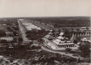 Burma. View Of The Walled City And Moat, Mandalay
