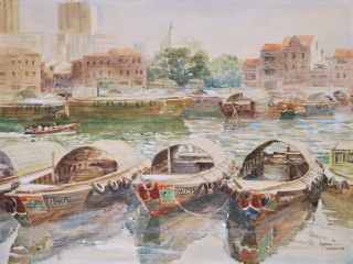 Singapore River and [Chinatown Market, Singapore]. Goh Chye Khee, b.1956 Singaporean