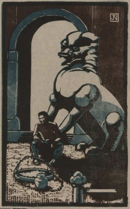 [Man Sitting At Feet Of Dog Of Fo Statue]. Attrib. J. M. Norton.