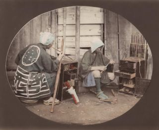 """Kiseru"" Smoking Pipe Craftsmen At Work, Japan]. Attrib. Felice Beato, Brit"