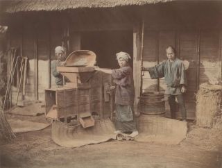 Three Workers Husking Rice, Japan