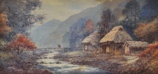 Thatched Huts By A Mountain Stream, Japan]. Anon, Japanese