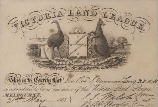John Dunmore Lang's Victoria Land League Membership Card