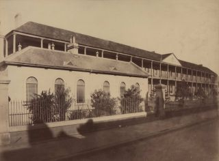 Sydney Infirmary [Macquarie Street]. Attrib. Charles Percy Pickering, Aust.