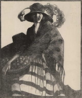 [Woman With Basket]. D. Bailey.