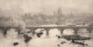 Westminster Bridge And St Paul's On The Thames, London, England]. William Lionel Wyllie, British