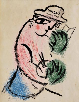 Man With Green Hands Holding Artist's Palette And Book]. Marc Chagall, French