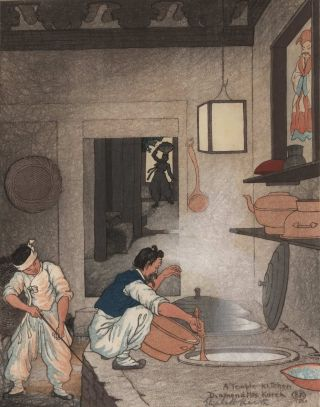 A Temple Kitchen, Diamond Mts, Korea. Elizabeth Keith, British