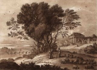 A Landscape With Ruins Of A Temple. After Claude Lorrain, c. French