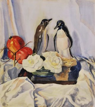 Still Life With Penguin Figurines And Pomegranates]. fl. Aust., s