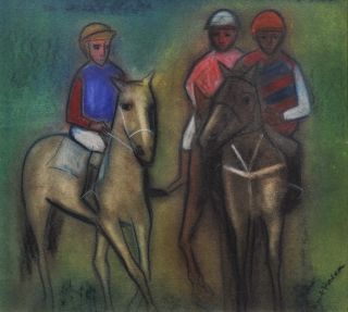 Three Jockeys On Horseback]. Robert Dickerson, b.1924 Australian