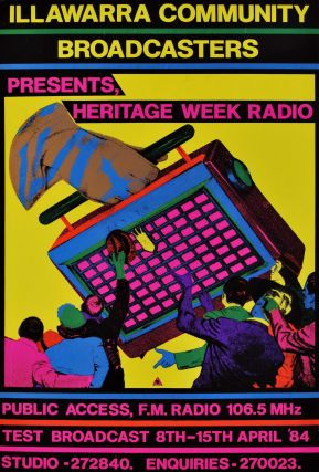 Illawarra Community Broadcasters Presents Heritage Week Radio. Redback Graphix, c. Aust