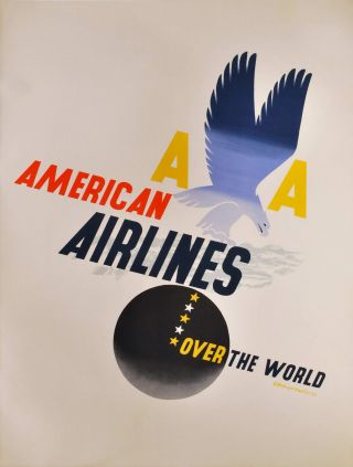 American Airlines. Over The World. Edward McKnight Kauffer, Amer