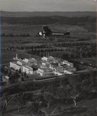 """Southern Cross"" Over Canberra [Pilot Charles Kingsford Smith]. Max Dupain, Aust"