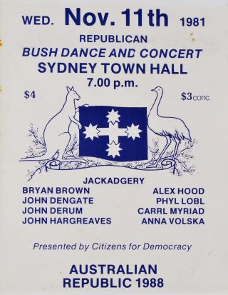 Republican Bush Dance And Concert, Sydney Town Hall