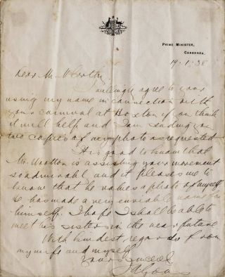 Letter From Prime Minister Joseph Lyons To Sir Edward McCarthy