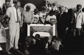 Under Another Sky. Uluru Handback Ceremony, Sir Ninian Stephens, Hon. Barry Cohen With...
