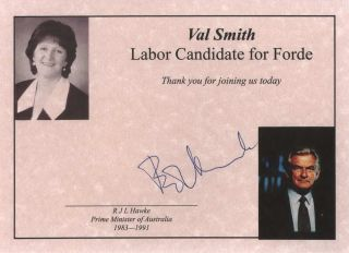 Certificate For Val Smith From Bob Hawke