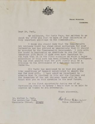 Letter From PM Robert Menzies To Dr Walter O. Paul [Donation To National Gallery Of Australia