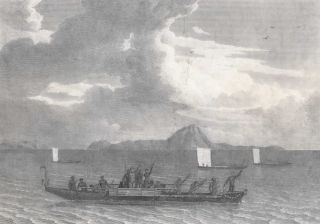 View Of Murray's Islands With The Natives Offering To Barter. After William Westall, Brit.