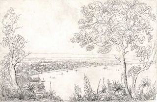 Sketch Of The Town Of Perth From Perth Water, Western Australia. Charles Dirk Wittenoom, c....
