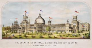 The Great International Exhibition, Sydney, 1879-80, As Seen From The Harbour [The Garden Palace