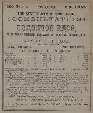 The Sydney Jockey Turf Club's Consultation On The Champion Race, To Be Run At Flemington,...