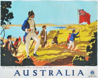 Australia. The Landing Of Captain Cook At Botany Bay [Kurnell, NSW]. Percy Trompf, Aust.