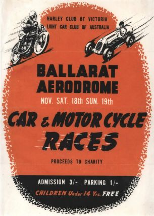 Car And Motor Cycle Races. Ballarat Aerodrome