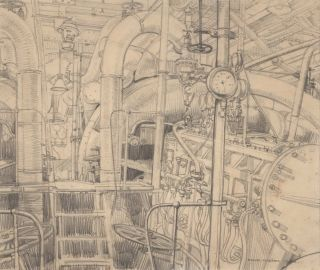 "Engine Room, HMAS ""Stuart"". Study For Painting. Frank Norton, Aust"