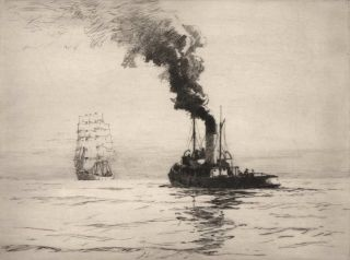 Tugboat And Sailing Ship]. Norman Wilkinson, British