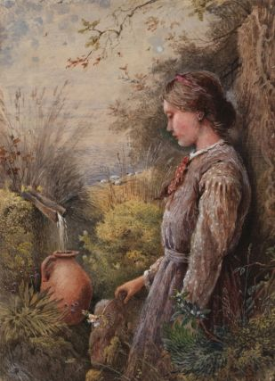 At The Spring. Attrib. Myles Birket Foster, Brit.