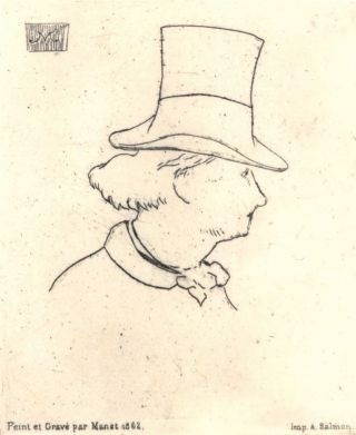 Profile Portrait Of Charles Baudelaire. Edouard Manet, French