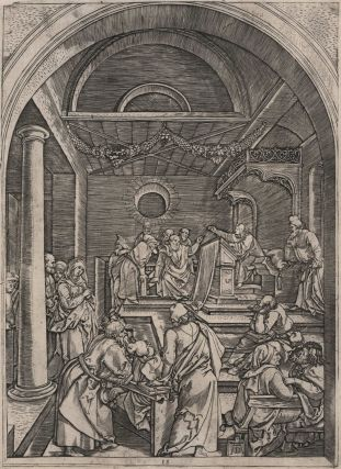 Christ Among The Doctors In The Temple. Marcantonio Raimondi, c1480-c1534. After Albrecht Dürer Italian, German.