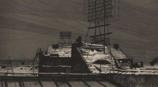 Schneedächer Mit Telephonstand (Snowy Roofs With Telephone Lines). Richard Müller, German