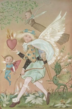 Burning Heart With Cupid, Goblin, Angel And Fairy Figures]. Anon