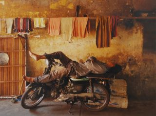 Resting On Bicycle, Laneway, Phnom Penh, [Cambodia]. Louise Francis Smith, b.1953 NZ/Canadian