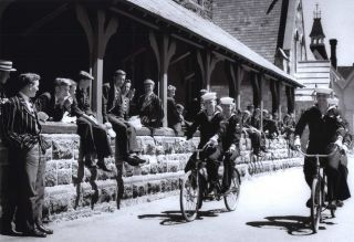 "US Navy Sailors Of ""Operation Deep Freeze"" Riding Their Tandems Through The Private Grounds..."