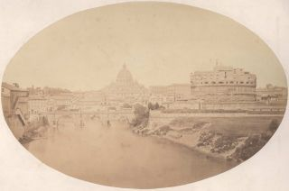 The Castle And Bridge Of Saint Angelo, With The Vatican In The Distance, Vatican City [Italy]....
