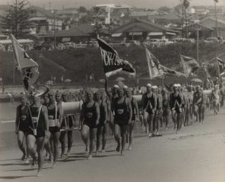 Surf Lifesavers' March Past At Dee Why Beach, NSW]. Beverley Clifford, active 1950s-1970s Aust