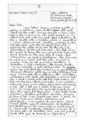 Correspondence From Carol Jerrems To Peter Leiss