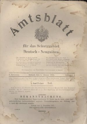 Government Gazettes From German New Guinea, WWI