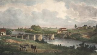 Vue D'un Pont A L'entree De Parramatta (Bridge At The Entrance Of Parramatta River, NSW).  After  Louis Auguste de Sainson . Lith. by Jacques Hippolyte Van der Burch, French.