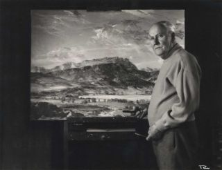Sir Hans Heysen With One Of His Paintings]. Peter Medlen, active 1950s-1970s Australian