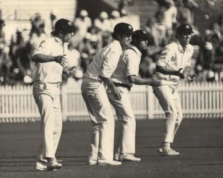 Australian Slip Fielders During A Cricket Test Match Against England