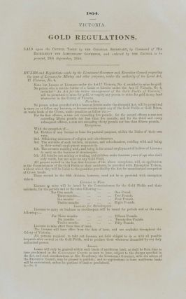 "Victoria Parliamentary Paper No. A2 – ""Gold Regulations"" [The Cause Of Eureka Stockade"