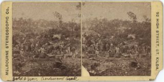 Gold Diggers, Andersons Creek [Victoria]. Melbourne Stereoscopic Co, fl. Aust