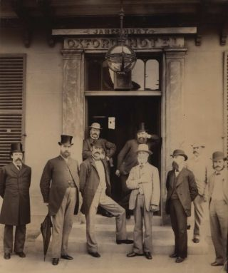 Masonic Gathering Outside Oxford Hotel, King St, Sydney]. William Henry Schroeder, c. Aust